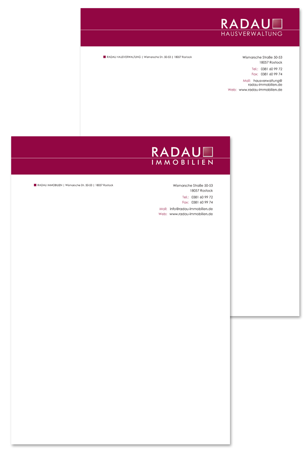 Radau Immobilien Briefbogen